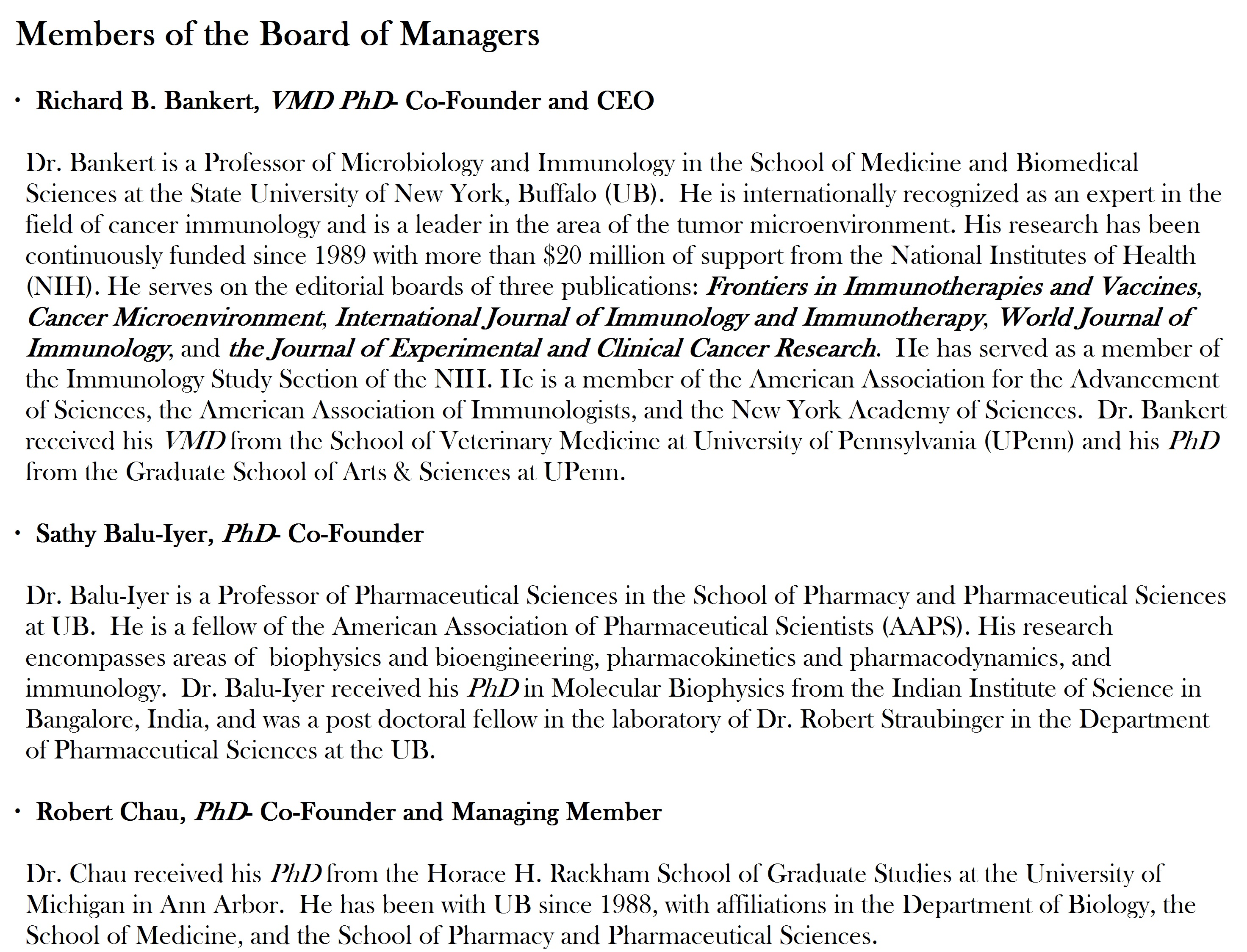 Immune Modulatory Therapies Board Of Managers