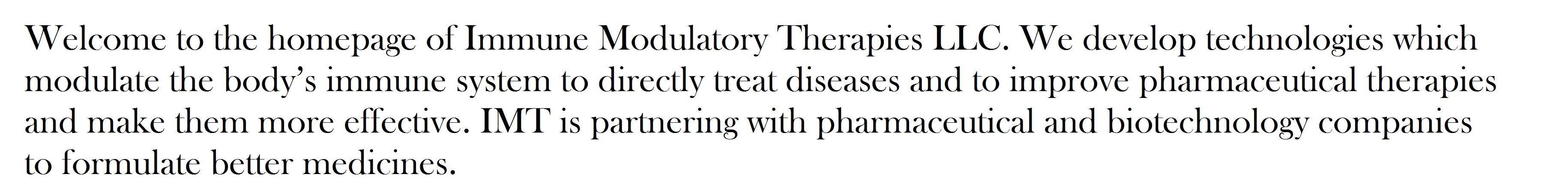 Immune Modulatory Therapies Mission